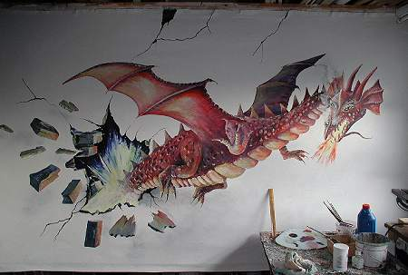 mural of dragon on bedroom wall